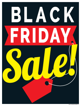 Seasonal Sign Poster 38 X 50 Black Friday Sale Red Tag