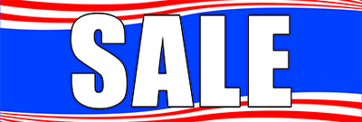 Retail Sale Banners 3' x 8' Sale red white and blue
