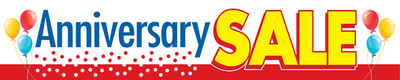 Retail store banner anniversary sale