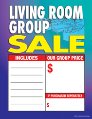 Large Price Card 8 1/2in x 11in Living Room Group Sale