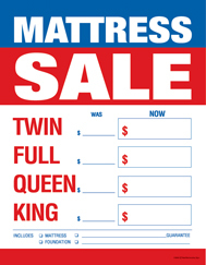 Large Price Card 8 1/2in x 11in Mattress Sale