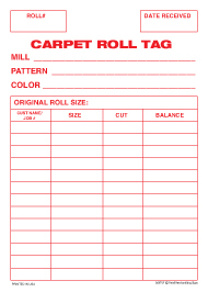 Carpet Grommet Tag 5in x 7in Carpet Roll Inventory Tag