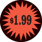 Fluorescent Labels $1.99 1 1/2in Red Orange 500 per roll