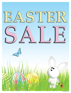 Seasonal Sale Signs Posters 22 Quot X28 Quot Easter Sale Bunny