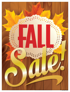 Sign Poster 38in x 50in Fall Sale (wood)