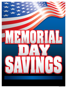 Patriotic Holiday Sale Signs Posters Memorial Day Saving