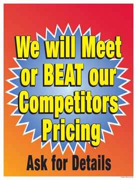 Retail Sale Signs Posters Meet or Beat Competitors