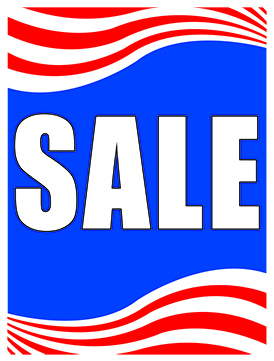 Sale Signs Posters 22in x 28in Sale red white and blue