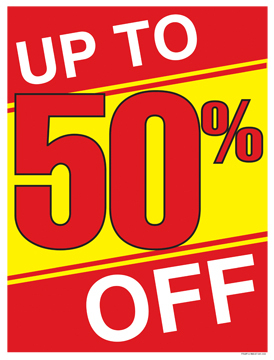 Retail Sale Signs Posters Up to 50% Off