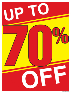 Retail Sale Signs Posters Up to 70% Off