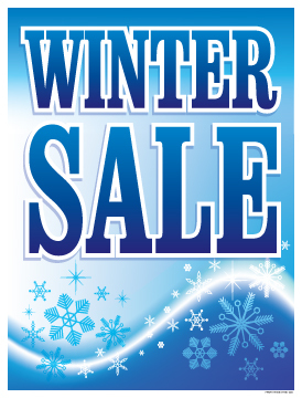 Seasonal Sale Signs Posters Winter Sale snow flakes