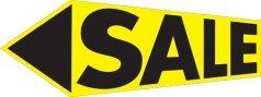 Yard/Lawn Signs 17.75in x 47.25in Sale Arrow Yellow Black