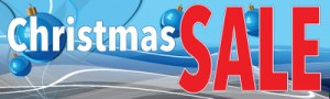 Retail Sale Banners 3' x 8' Christmas Sale blue bulbs
