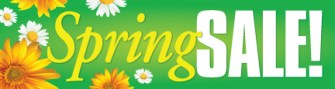 Seasonal Retail Sign Banner 3' x 8' Spring Sale (flowers)