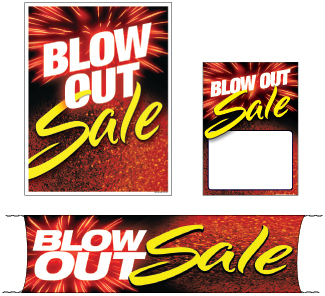 Retail Promotional Sign Mini Small and Large Kits 4 piece Blow Out Sale