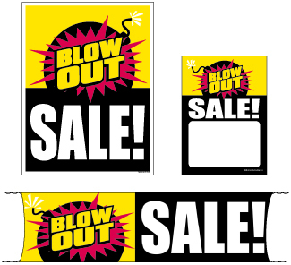 Retail Promotional Sign Mini Small and Large Kits 4 piece Blow Out Sale! bomb