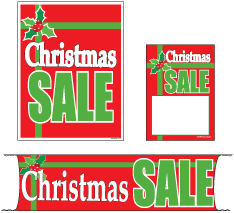 Retail Promotional Sign Mini Small and Large Kits 4 piece Christmas Sale gift
