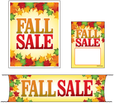 Retail Promotional Sign Mini Small and Large Kits 4 piece Fall Sale leafs