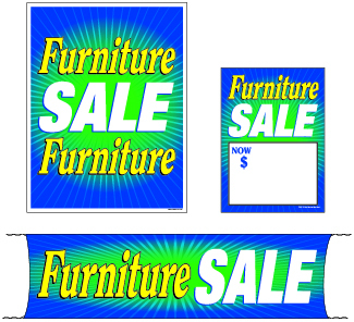 Marvelous Retail Promotional Sign Mini Small And Large Kits 4 Piece Furniture Sale