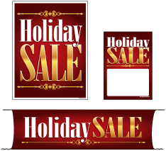 Retail Promotional Sign Mini Small and Large Kits 4 piece Holiday Sale Christmas