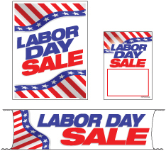 Retail Promotional Sign Mini Small and Large Kits 4 piece Labor Day Sale patriotic