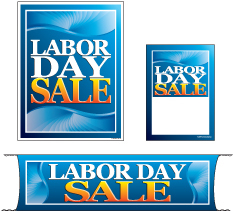 Retail Promotional Sign Mini Small and Large Kits 4 piece Labor Day Sale