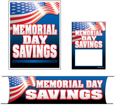 Retail Promotional Sign Mini Small and Large Kits 4 piece Memorial Day Savings