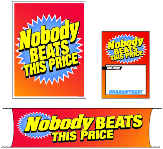 Retail Promotional Sign Mini Small and Large Kits 4 piece Nobody Beats This Price