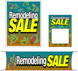 Retail Promotional Sign Mini Small and Large Kits 4 piece Remodeling Sale