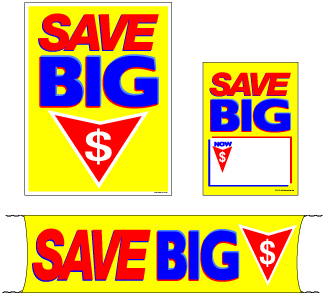Retail Promotional Sign Mini Small and Large Kits 4 piece Save Big $