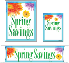 Retail Promotional Sign Mini Small and Large Kits 4 piece Spring Savings flowers