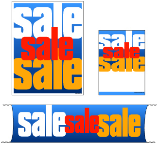 Retail Promotional Sign Mini Small and Large Kits 4 piece sale sale
