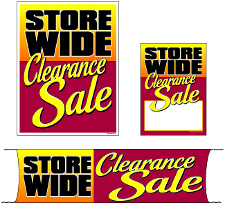 Retail Promotional Sign Mini Small and Large Kits 4 piece Storewide Clearance Sale