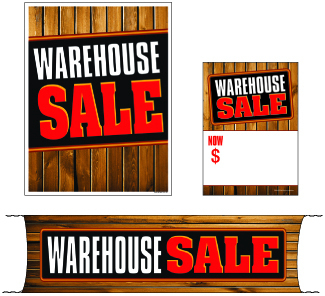 Retail Promotional Sign Mini Small and Large Kits 4 piece Warehouse Sale wood
