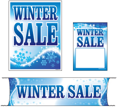 Retail Promotional Sign Mini Small and Large Kits 4 piece Winter Sale snow flakes
