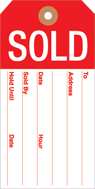 Sold Tags Slotted 2 3/8in x 4 3/4in 100pk red white