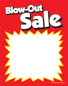 Slotted Sale Tags Blow-Out Sale