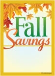 Seasonal Slotted Sale Tags 5in x 7in Fall Savings