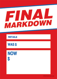 Slotted Sale Tags 5 X 7 Final Markdown