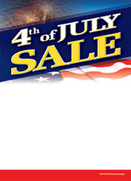 Seasonal Slotted Sale Tags 5in x 7in 4th of July Sale fireworks flag