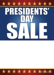 Seasonal Slotted Sale Tags 5in x 7in Presidents Day Sale