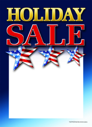 Patriotic Slotted Sale Tags 5in x 7in Holiday Sale