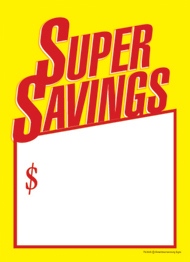 Slotted Sale Tags 5in x 7in Super Savings $